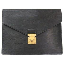 Louis Vuitton-Louis Vuitton Black Epi Porte Documents Senateur-Black