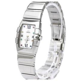 Omega-Omega Silver Stainless Steel Constellation Mini Quadrella Quartz Watch 1584.79-Silvery