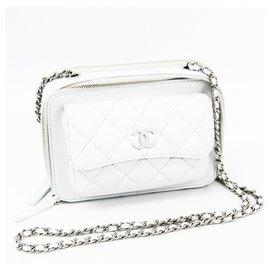 Chanel-Chanel White Lambskin Camera Bag-White