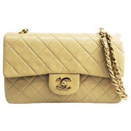 Chanel-Chanel Brown Classic Small Leather lined Flap Bag-Brown,Beige