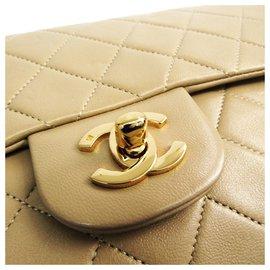 Chanel-Sac à rabat doublé cuir classique Classic de Chanel, brun-Marron,Beige