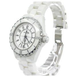 Chanel-Chanel White Ceramic J12 Quartz Watch H0968-Silvery,White