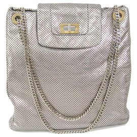 Chanel-Chanel Silver Large Drill Shoulder Bag-Silvery,Golden