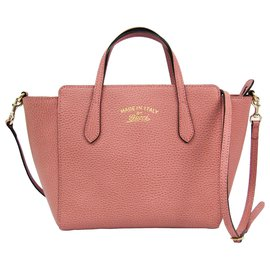 Gucci-Gucci Pink Leather Swing Satchel-Pink