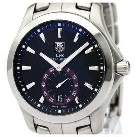 Tag Heuer-Tag Heuer Silver Stainless Steel Link upperr Woods Automatic Watch WJF211D.BA0570-Black,Silvery