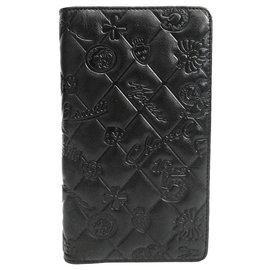 Chanel-Portefeuille long Icon en cuir noir-Noir