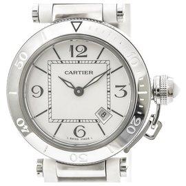 Cartier-Cartier Silver Pasha Seatimer Quartz Womens Watch-Silvery,White