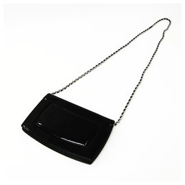Chanel-Chanel Black Patent Make-Up Line Wallet On Chain-Black