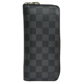 Louis Vuitton-Louis Vuitton Black Damier Graphite Vertical Zippy Wallet-Black,Grey