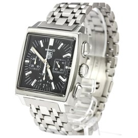 Tag Heuer-Tag Heuer Silver Stainless Steel Monaco Chronograph Automatic Watch CW2111.FC6177-Black,Silvery