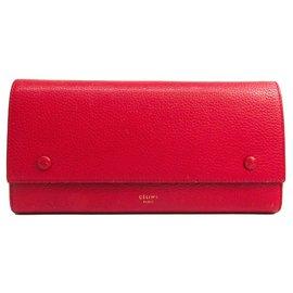 Céline-Celine Red Large Multifunctional Flap Wallet-Red