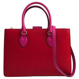 Gucci-Gucci Red Leather Linea A Satchel-Pink,Red