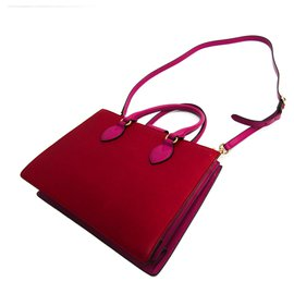 Gucci-Gucci Linea A Leather - Cartable Rouge-Rose,Rouge