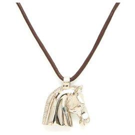 Hermès-HORSE HEAD-Marron,Argenté
