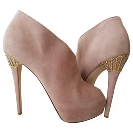 Le Silla-Ankle boots wedge heel gold jewelry and rhinestones-Pink