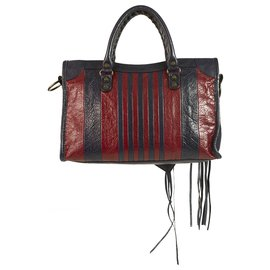 Balenciaga-Balenciaga Classic Red Blue Colorblock Striped Edge City Bag retails @ €1595 or $1850-Dark red