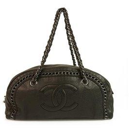 Chanel-Chanel Black Leather Luxe Ligne Medium Bowler Bag Shoulder Handbag Chain Link-Black