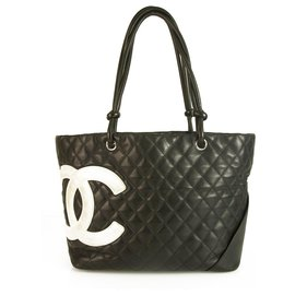 Chanel-Chanel Black Quilted Leather Ligne Cambon Large Tote Bag with White CC Stiched-Black