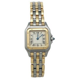 """Cartier-Cartier """"Panther"""" watch in steel, three rows of gold. Small model.-Other"""