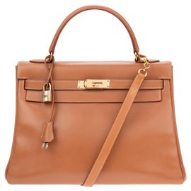Hermès-Stunning Hermes Kelly handbag 32 Gulliver cognac leather shoulder strap with matching pouch in good condition!-Cognac