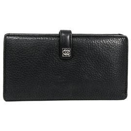 Chanel-Chanel Black Calf Bi-fold Wallet-Black