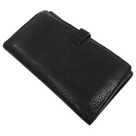 Chanel-Portefeuille à rabat double veau noir Chanel-Noir