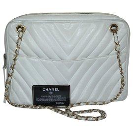 Chanel-Chanel modèle Camera cuir chevron vintage rare !-Blanc