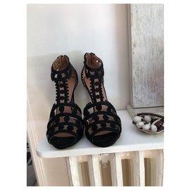 Alaïa-Alaia cut out black suede sandals-Black