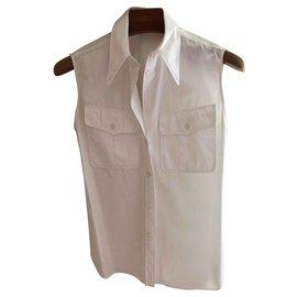 Hermès-Chemise en coton sans manches Hermès-Blanc
