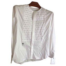 d3c1c4b4c Christian Dior-Embroidered Cotton Shirt-White ...