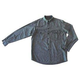 Autre Marque-chemise homme gris chiné 100% coton T. XL-Gris