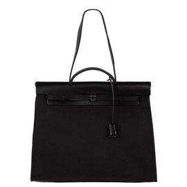 Hermès-Sac Hermès Herbag 38 en cuir et toile noir, état neuf !-Noir