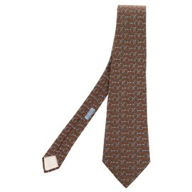 Hermès-Hermès tie in printed silk taupe / blue in excellent condition!-Blue,Taupe