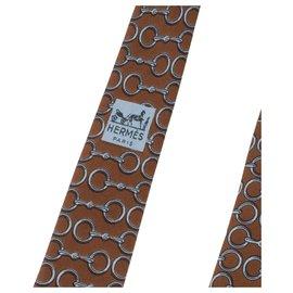 Hermès-Hermès gravata em seda estampada / azul em excelente estado!-Azul,Taupe