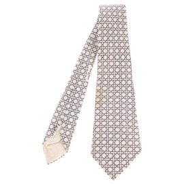 Hermès-Hermès printed silk tie with geometric motifs in excellent condition!-Black,White