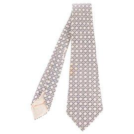 Hermès-Cravate Hermès en soie imprimée à motifs géométriques en excellent état !-Noir,Blanc