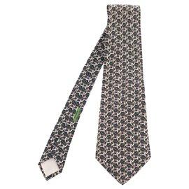 Hermès-Hermes empate em seda estampada com motivos de mandíbula e corda em excelente estado!-Branco,Azul,Verde