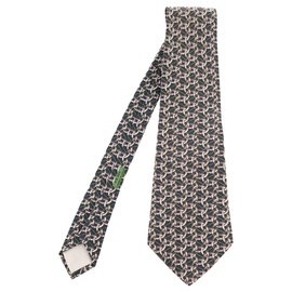 Hermès-Hermès tie in printed silk with jaw and rope motifs in excellent condition!-White,Blue,Green
