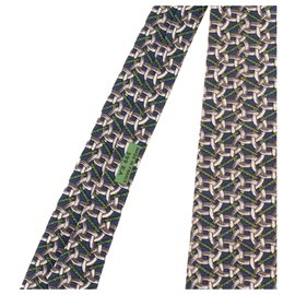 Hermès-Cravate Hermès en soie imprimée avec motifs de mors et de corde en excellent état !-Blanc,Bleu,Vert