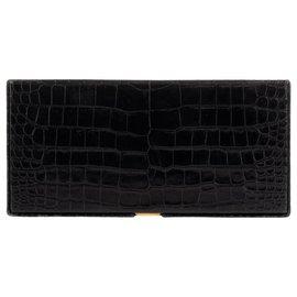 Hermès-Hermes vintage cigarette box in black Crocodile leather!-Black