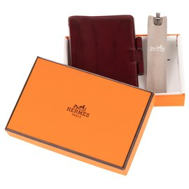 Hermès-Hermes vintage PM diary holder in burgundy box leather-Dark red