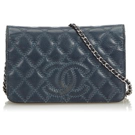 Chanel-Chanel Blue CC Lambskin Leather Wallet on Chain-Blue,Navy blue