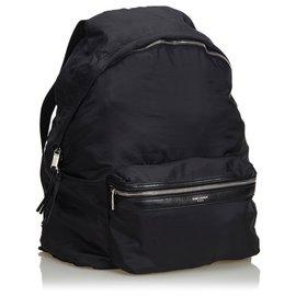 Yves Saint Laurent-Sac à dos pliable en nylon noir YSL-Noir