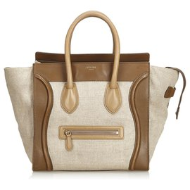 Céline-Celine Brown Canvas Luggage Tote Bag-Brown,Beige,Dark brown