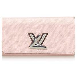 Louis Vuitton-Portefeuille Epi Twist Rose de Louis Vuitton-Argenté,Rose