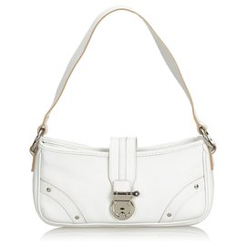 Burberry-Burberry White Leather Baguette-White