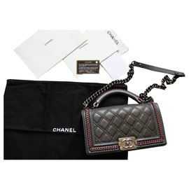 Chanel-Wonderful Chanel Boy bag Crafts Paris-Salzburg-Grey,Dark red,Khaki