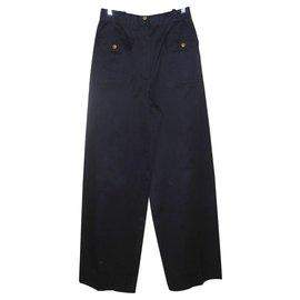 Chanel-Chanel pantalon taille haute, Collection été 1989-Bleu Marine