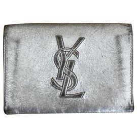 Yves Saint Laurent-Porte-monnaie enveloppe Yves Saint Laurent-Argenté