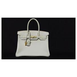 Hermès-Hermès Sac à main Birkin 30 cm Togo Craie Gold Hdw-Blanc